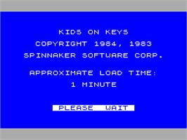 Title screen of Kids on Keys on the Sinclair ZX Spectrum.