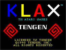 Title screen of Klax on the Sinclair ZX Spectrum.