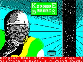 Title screen of Knuckle Busters on the Sinclair ZX Spectrum.