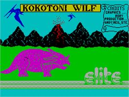 Title screen of Kokotoni Wilf on the Sinclair ZX Spectrum.