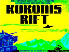 Title screen of Koronis Rift on the Sinclair ZX Spectrum.