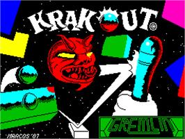 Title screen of Krakout on the Sinclair ZX Spectrum.