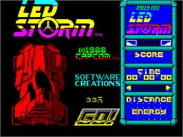 Title screen of LED Storm on the Sinclair ZX Spectrum.