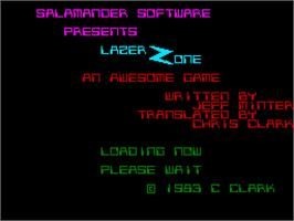 Title screen of Laser Zone on the Sinclair ZX Spectrum.
