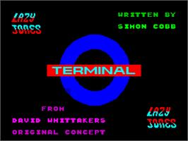 Title screen of Lazy Jones on the Sinclair ZX Spectrum.
