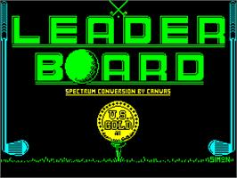 Title screen of Leader Board on the Sinclair ZX Spectrum.