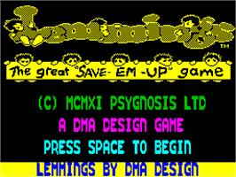Title screen of Lemmings on the Sinclair ZX Spectrum.