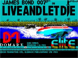 Title screen of Live and Let Die on the Sinclair ZX Spectrum.