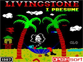 Title screen of Livingstone Supongo 2 on the Sinclair ZX Spectrum.