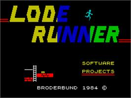Title screen of Lode Runner on the Sinclair ZX Spectrum.