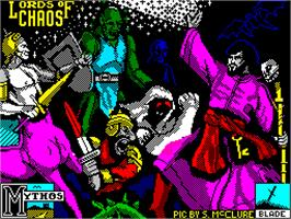 Title screen of Lords of Chaos on the Sinclair ZX Spectrum.