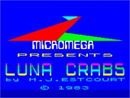 Title screen of Luna Crabs on the Sinclair ZX Spectrum.