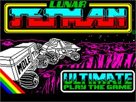 Title screen of Lunar Jetman on the Sinclair ZX Spectrum.