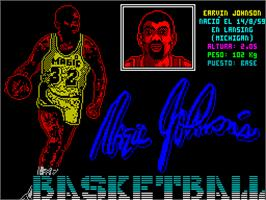 Title screen of Magic Johnson's Fast Break on the Sinclair ZX Spectrum.
