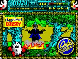 Title screen of Magicland Dizzy on the Sinclair ZX Spectrum.
