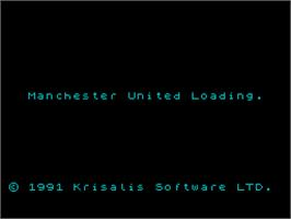 Title screen of Manchester United Europe on the Sinclair ZX Spectrum.