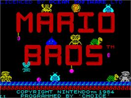 Title screen of Mario Bros. on the Sinclair ZX Spectrum.