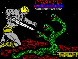 Title screen of Masters of the Universe: The Arcade Game on the Sinclair ZX Spectrum.