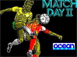 Title screen of Match Day II on the Sinclair ZX Spectrum.