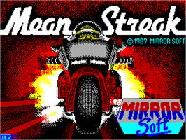 Title screen of Mean Streak on the Sinclair ZX Spectrum.