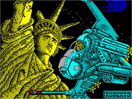 Title screen of Meganova on the Sinclair ZX Spectrum.