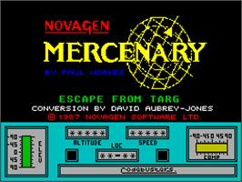 Title screen of Mercenary: Escape From Targ with the Second City on the Sinclair ZX Spectrum.