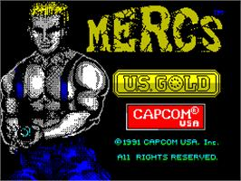 Title screen of Mercs on the Sinclair ZX Spectrum.