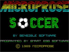 Title screen of Microprose Pro Soccer on the Sinclair ZX Spectrum.