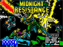 Title screen of Midnight Resistance on the Sinclair ZX Spectrum.