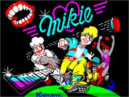 Title screen of Mikie on the Sinclair ZX Spectrum.