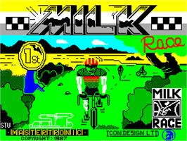 Title screen of Milk Race on the Sinclair ZX Spectrum.