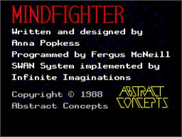 Title screen of Mindfighter on the Sinclair ZX Spectrum.