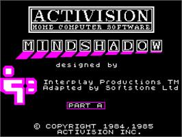 Title screen of Mindshadow on the Sinclair ZX Spectrum.