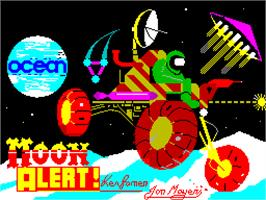 Title screen of Moon Alert on the Sinclair ZX Spectrum.