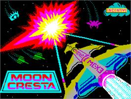 Title screen of Moon Cresta on the Sinclair ZX Spectrum.