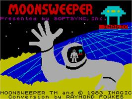 Title screen of Moonsweeper on the Sinclair ZX Spectrum.