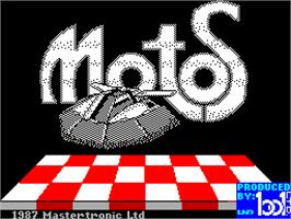 Title screen of Motos on the Sinclair ZX Spectrum.