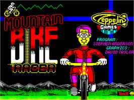 Title screen of Mountain Bike Racer on the Sinclair ZX Spectrum.
