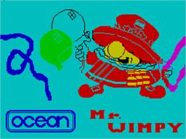 Title screen of Mr. Wimpy: The Hamburger Game on the Sinclair ZX Spectrum.