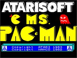 Title screen of Ms. Pac-Man on the Sinclair ZX Spectrum.