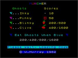 Title screen of Muncher on the Sinclair ZX Spectrum.