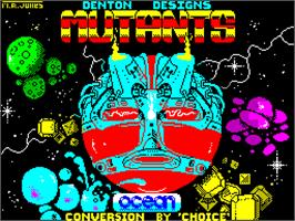 Title screen of Mutants on the Sinclair ZX Spectrum.