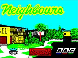 Title screen of Neighbours on the Sinclair ZX Spectrum.