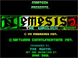 Title screen of Nemesis the Warlock on the Sinclair ZX Spectrum.