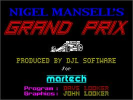 Title screen of Nigel Mansell's Grand Prix on the Sinclair ZX Spectrum.