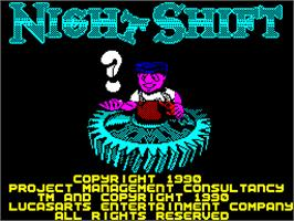 Title screen of Night Shift on the Sinclair ZX Spectrum.