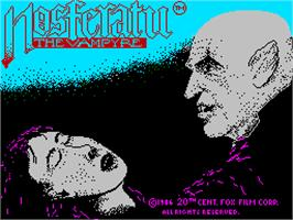 Title screen of Nosferatu the Vampyre on the Sinclair ZX Spectrum.