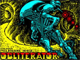 Title screen of Obliterator on the Sinclair ZX Spectrum.