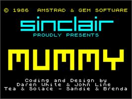 Title screen of Oh Mummy on the Sinclair ZX Spectrum.