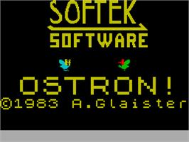 Title screen of Ostron on the Sinclair ZX Spectrum.